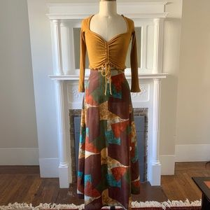 Vintage 1970s Patchwork Western Maxi Skirt Size S
